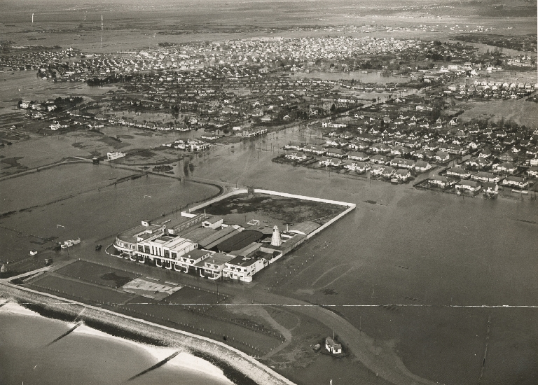 View of Canvey Island during the floods from a US Army helicopter.